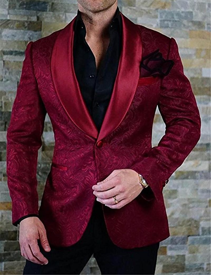 Handsome Embossing Groomsmen Shawl Lapel Groom Tuxedos  Men Suits Wedding/Prom/Dinner Best Blazer(Jacket+Pants+Tie) 017