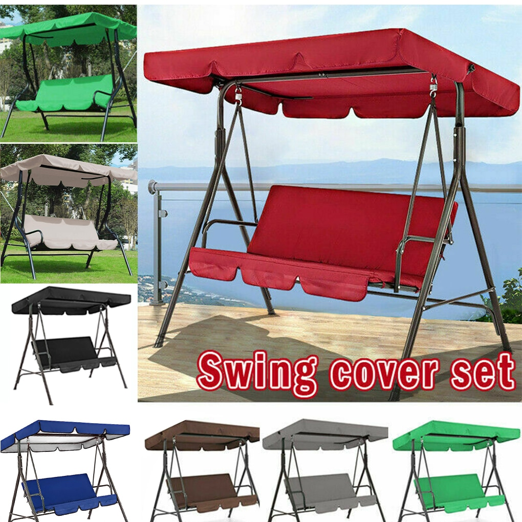 AliExpress - 3 Seat Swing Canopies Seat Cushion Cover Set Patio Swing Chair Hammock Replacement Waterproof Garden Swing Chair Awning