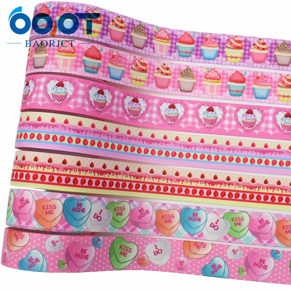 OOOT BAORJCT L-20116-65,25mm,10yards Cartoon Thermal transfer Printed grosgrain Ribbons,bow cap DIY accessories decorations