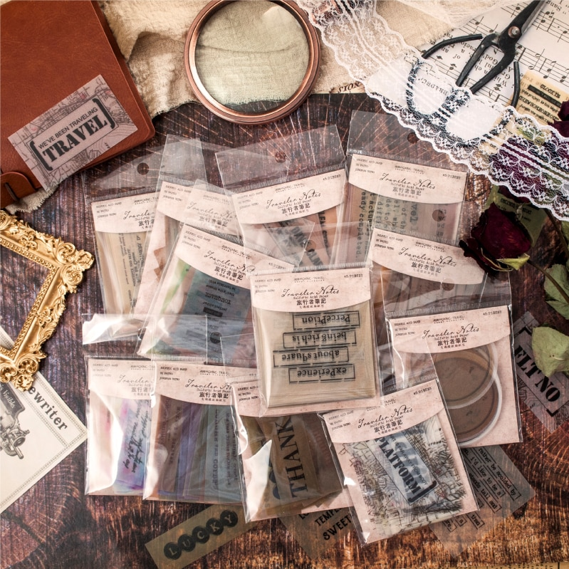 40 arkuszy podróżnik notatki kwas siarkowy papierowa naklejka opakowanie Retro angielski notatnik DIY journal srticker stacjonarne kawaii