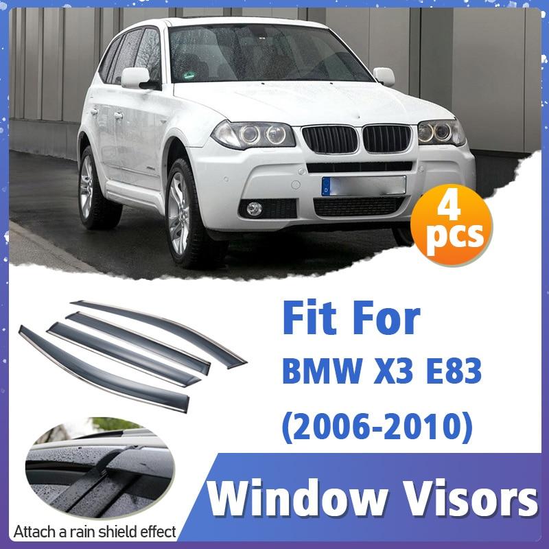 Window Visors Guard for BMW X3 E83 2006-2010 Visor Vent Cover Trim Awnings Shelters Protection Guard Deflector Rain Rhield 4pcs