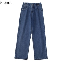 Nbpm New 2021 Korean Fashion Loose Bottom Washed Jeans Woman High Waist Baggy Wide Leg Jeans Girls S