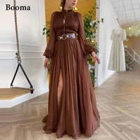 booma brown chiffon prom dresses long sleeves high neck slit pleated prom gowns keyhole open skirt a line wedding party dresses