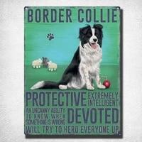 border collie dog dog metal sign shield domed metal tin sign 20 x 30 cm home decor