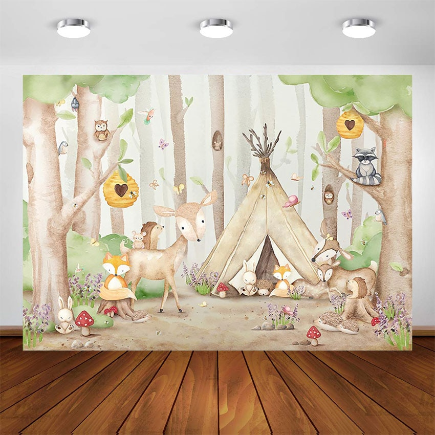 Woodland Photography Backdrop Newborn Baby Photo Background Animals Birthday Decoration Supplies for Photo Booth Studio