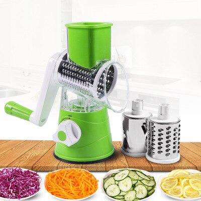 قطاعة خضروات يدوية للمطبخ ، مندولين دائري ، قطاعة متعددة ، مبشرة ملفوف ، كسارة ثوم ، قطاعة