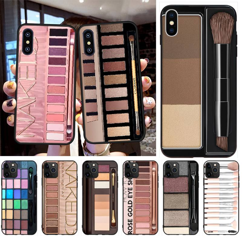 Penghuwan paleta nua moda glam paleta de maquiagem caso do telefone capa escudo para iphone11 pro xs max 8 7 6 s plus x 5S se xr caso