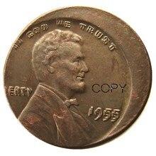 Pièce de monnaie US One Cent 1955 Double erreur   Avec une erreur de Center cassé, pièces de reproduction rares