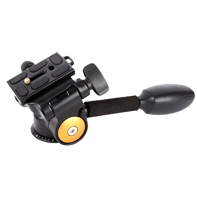 QINGZHUANGSHIDAI Q08 3-Way Fluid Head Rocker Arm Video Tripod Ball Head Plate for DSLR Camera Tripod Monopod