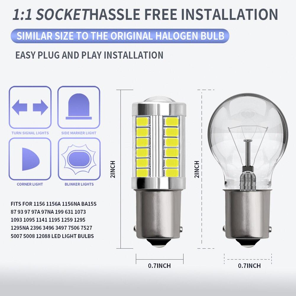2 uds 1156 5730 33SMD intermitente LED para coche Luz de marcha atrás bombillas de repuesto para automóviles M8617