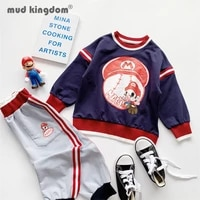 mudkingdom sweatshirt jogger kids sets boy girl cartoons print pullover tops colorblock pants outfits for children sets clothing