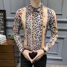 Camisa de leopardo nueva 2019 otoño camisa de manga larga estampada ajustada Chemise Homme moda hombres Casual Club Party Shirt Asia Men M-5XL