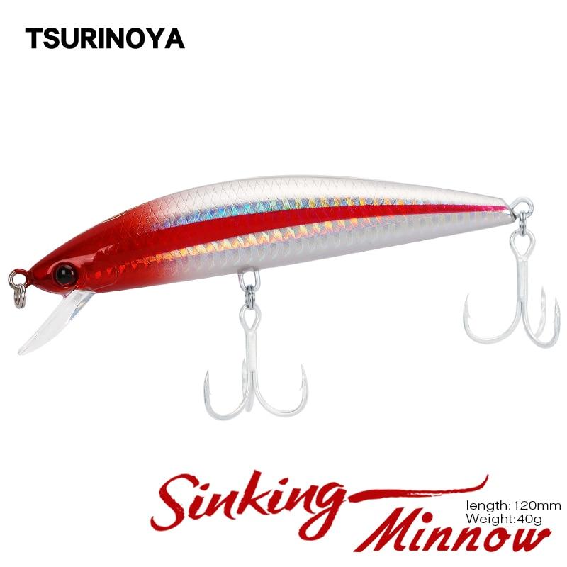 TSURINOYA señuelo de pesca DW37 hundimiento MINNOW 120mm 40g profundidad 2m cebo duro Artificial sal agua señuelo 6 colores