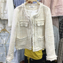 2021 New Spring Autumn Women Jacket Short Splicing Coat Round Neck Outwear Soft Thin Casual Single B