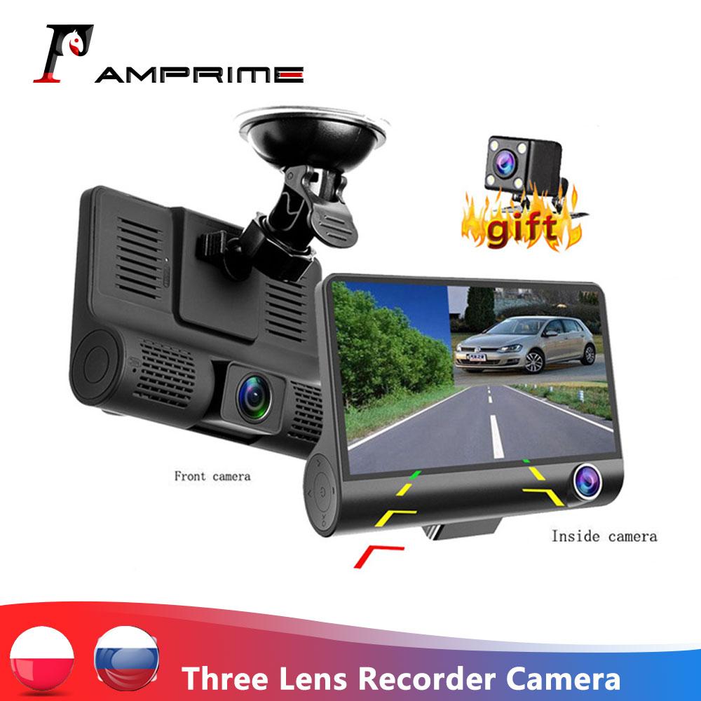 AMPrime 4'' Three Way Car DVR FHD Three Lens Video Recorder Camera 170 Wide Angle Dash Cam G-Sensor And Night vision Camcorder