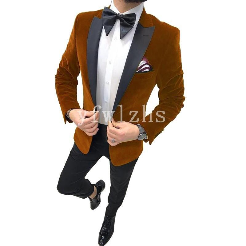 بدلة رسمية من المخمل لرفقاء العريس مع طية صدر السترة للرجال ، بدلة زفاف/حفلة موسيقية أفضل ، سترة (جاكيت + بنطلون ربطة عنق) B177 ، مجموعة جديدة