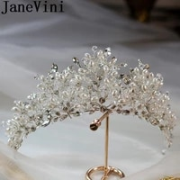 janevini boho pearls bride headpieces crystal bridal tiaras white silver wedding hairbands women beauty pageant hair accessories