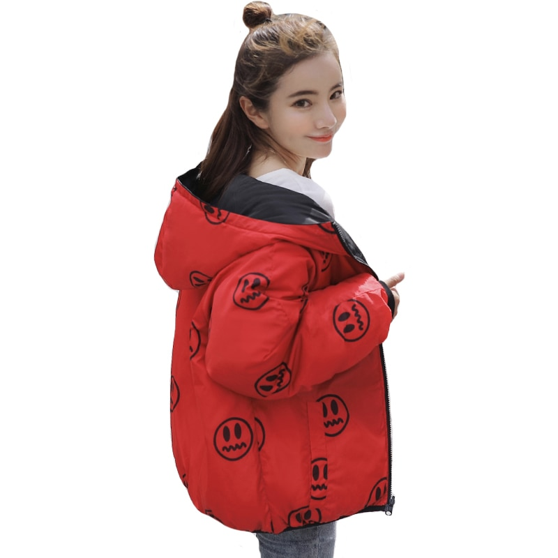 Recién llegado, chaqueta de invierno para mujer, con capucha, ambos lados, puede usar un abrigo de gran tamaño para mujer, abrigos cortos, Parka, prendas de vestir, Camperas