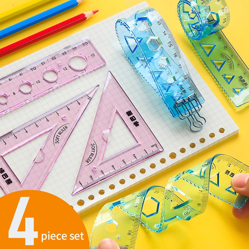 Soft ruler set with wavy line compasses ruler set set ruler triangle special multifunctional stationery protractor for students