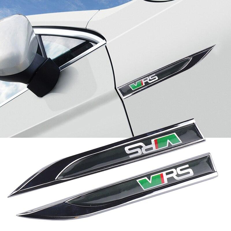 Pegatina de Metal 3D para coche VRS, 2 uds., para vw Skoda Rapid Yeti, Octavia a 5 7 2 Fabia Superb Kodiaq, adhesivos de guardabarros laterales para coche