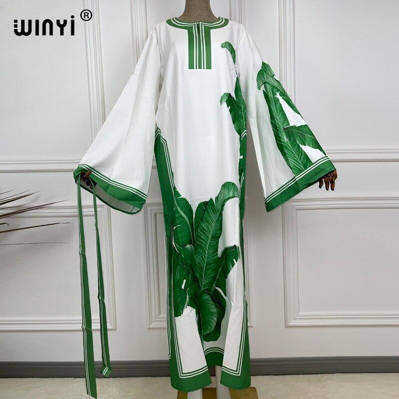WINYI 2021 حجم كبير طول الكلمة فستان حريري المرأة متماسكة مرونة البوهيمي طباعة أنيقة يترك أكثر من حجم فضفاضة جديد الخريف موضة