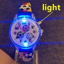 Dropshiping Light Watch Cartoon Football Luminous Quartz Children's Watch for Baby Boys Girls Toy Cl