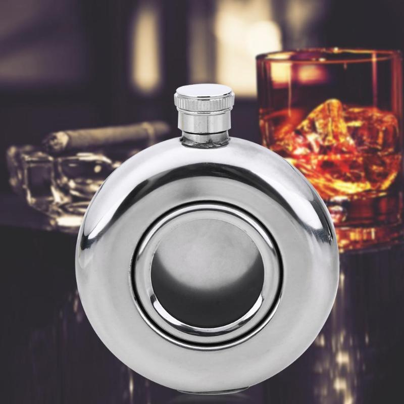 Redondo semi-transparente aço inoxidável pote de vinho hip balão de acampamento flags álcool licor garrafa de uísque pote de vinho