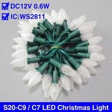 LED lumières de fée en plein air/intérieur chaîne fête éclairage noël vacances décoration IC WS2811 S20-C9 / C7 LED lumières de noël