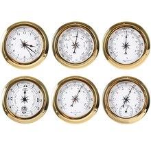 Étui en laiton Station météo   1 pièce, baromètre hygromètre température, horloge et horloge, Tid 115mm 1-6 modèle à choisir B91156