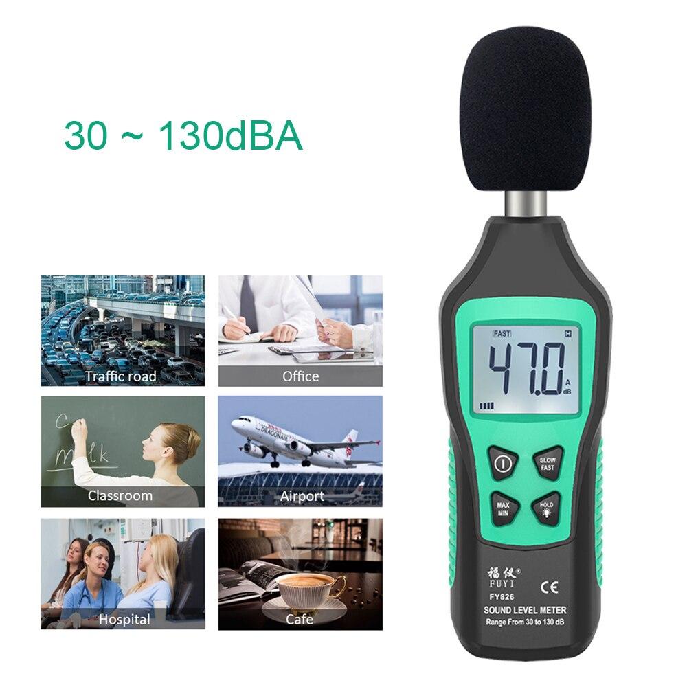 Medidores de Nível de Som Detector de Áudio Construção de Construção Decibel Monitora Testador Diagnóstico-ferramenta Rápido – Lento Dois Modos Que 30-130db