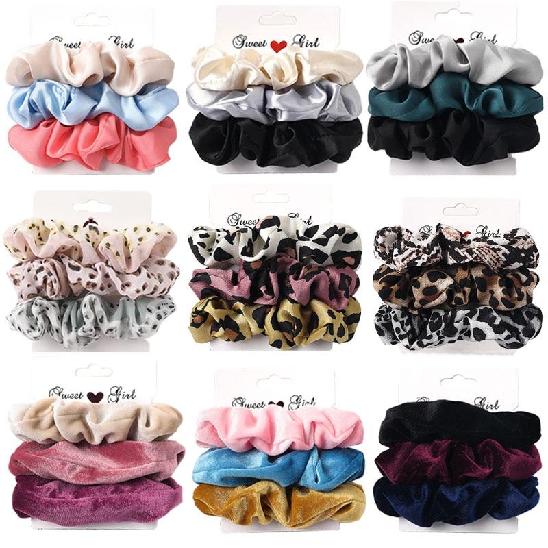 3PCS Vintage Velvet Scrunchie Leopard Scrunchies Set Elastic Hair Bands Headband Ponytail Holder Tie