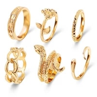 6pcs knuckle rings for women fashion geometric snake rose chain female finger rings set gold silver color jewelry accessories