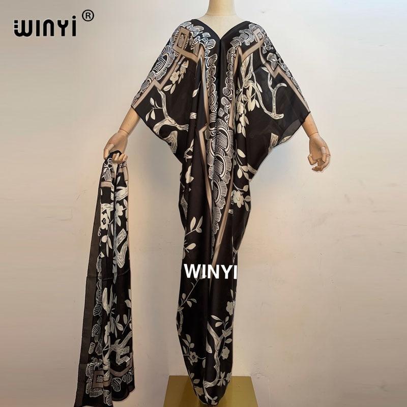 فساتين WINYI 2021 للنساء بتصميم ربع عربي فستان طويل فضفاض ماكسي فيستدوس نسائي فستان حفلات صيف وخريف أنيق