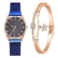 2pcs stars bracelet women watch set flower dial clocks mesh stainless steel watch strap quartz wrist watches for women gifts