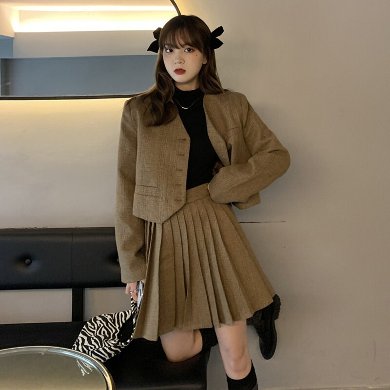 Women's Skirt Suit Autumn Korean 2021 New Slim Fashion Age Reducing Temperament Chic Short Long Slee