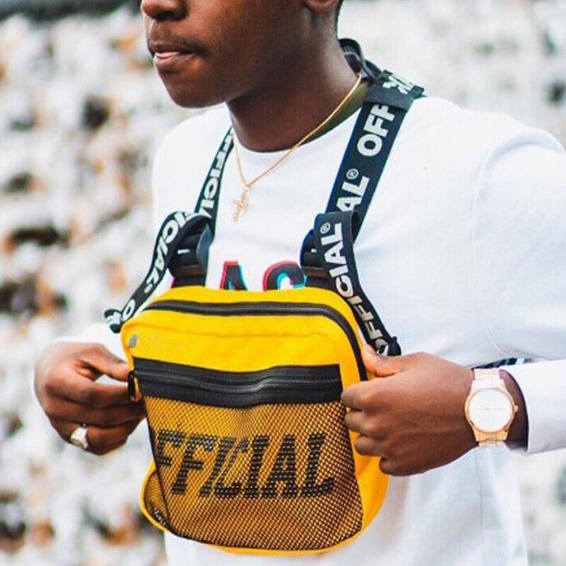 Нагрудная сумка для мужчин жилет с буквенным принтом функциональная уличная сумка кошелек в стиле Панк Рюкзак телефон хип поясные сумки 2019 нагрудная сумка