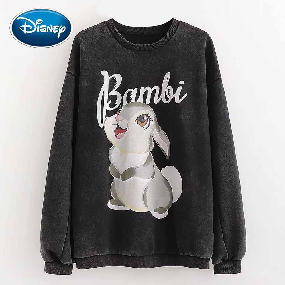 Disney Stilvolle Kaninchen Cartoon Bambi Brief Druck Oansatz Pullover Fleece Frauen T-Shirt Long Sleeve Fashion Casual Lose Tops