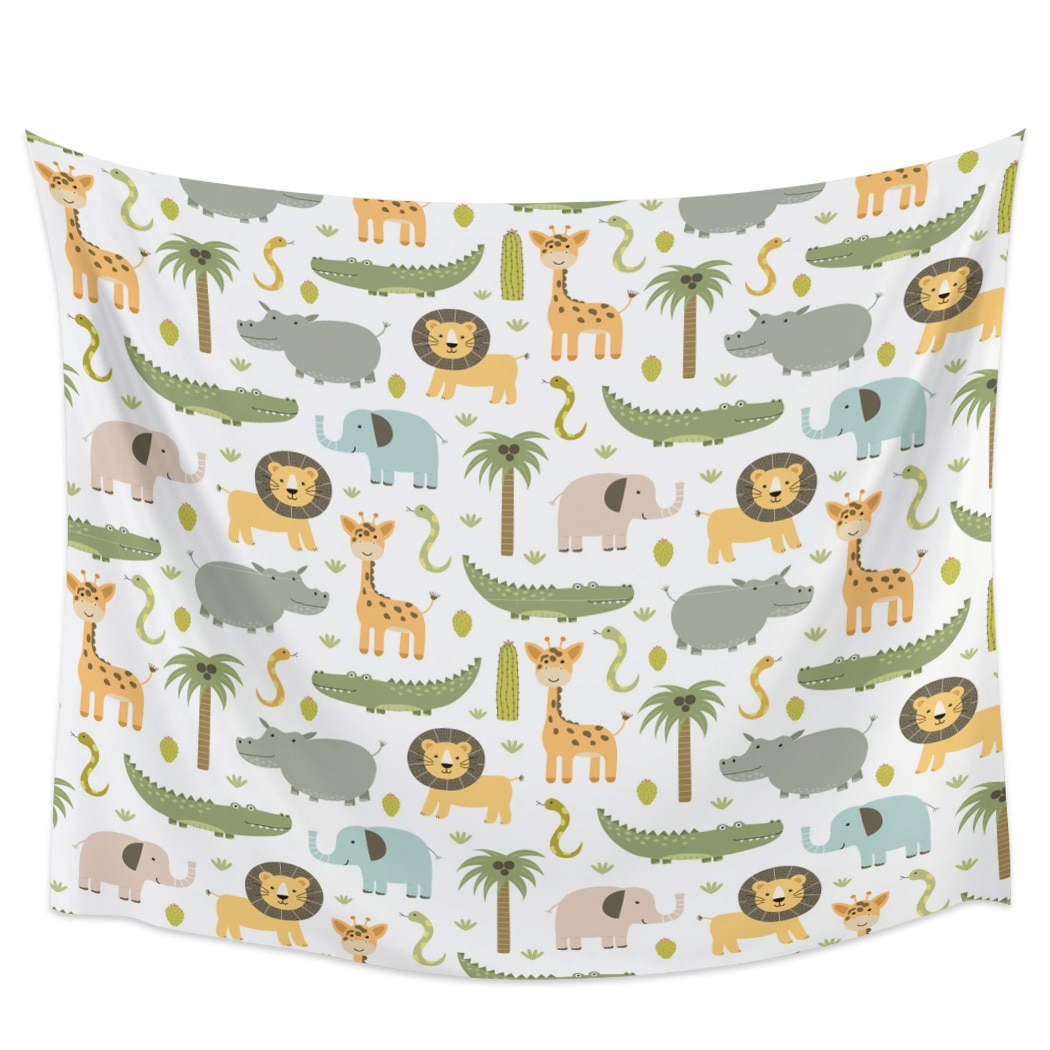 Cartoon African Animals Elephant Giraffe Wall Hanging Tapestries Wall Decor Tapestry Wall Art Blanket Curtain Scarf Towel