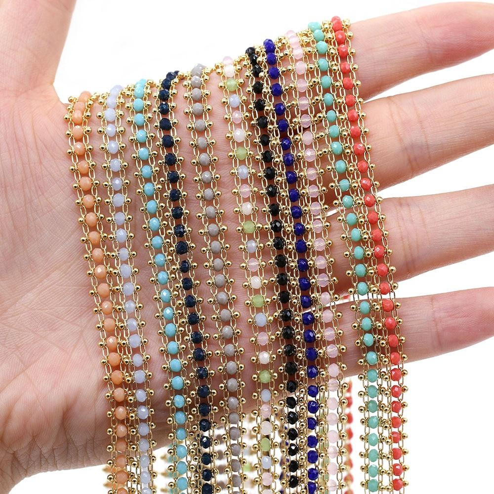 1 metro de oro hecho a mano de cuentas de cristal gargantilla Collar para mujeres collares pulseras tobillera hacer DIY joyería encontrar