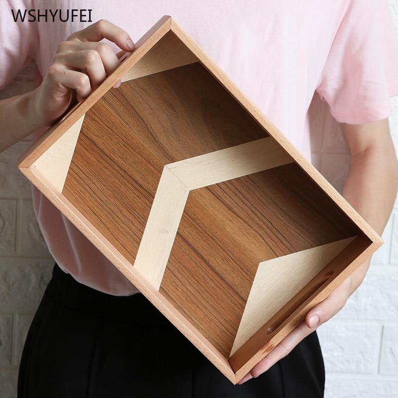 مباشرة جديد المنتجات خشب مبتكر اللون التباين صينية مقبض خشبي صينية الشاي النار الخبز كيك تحلية بسكويت صينية إفطار