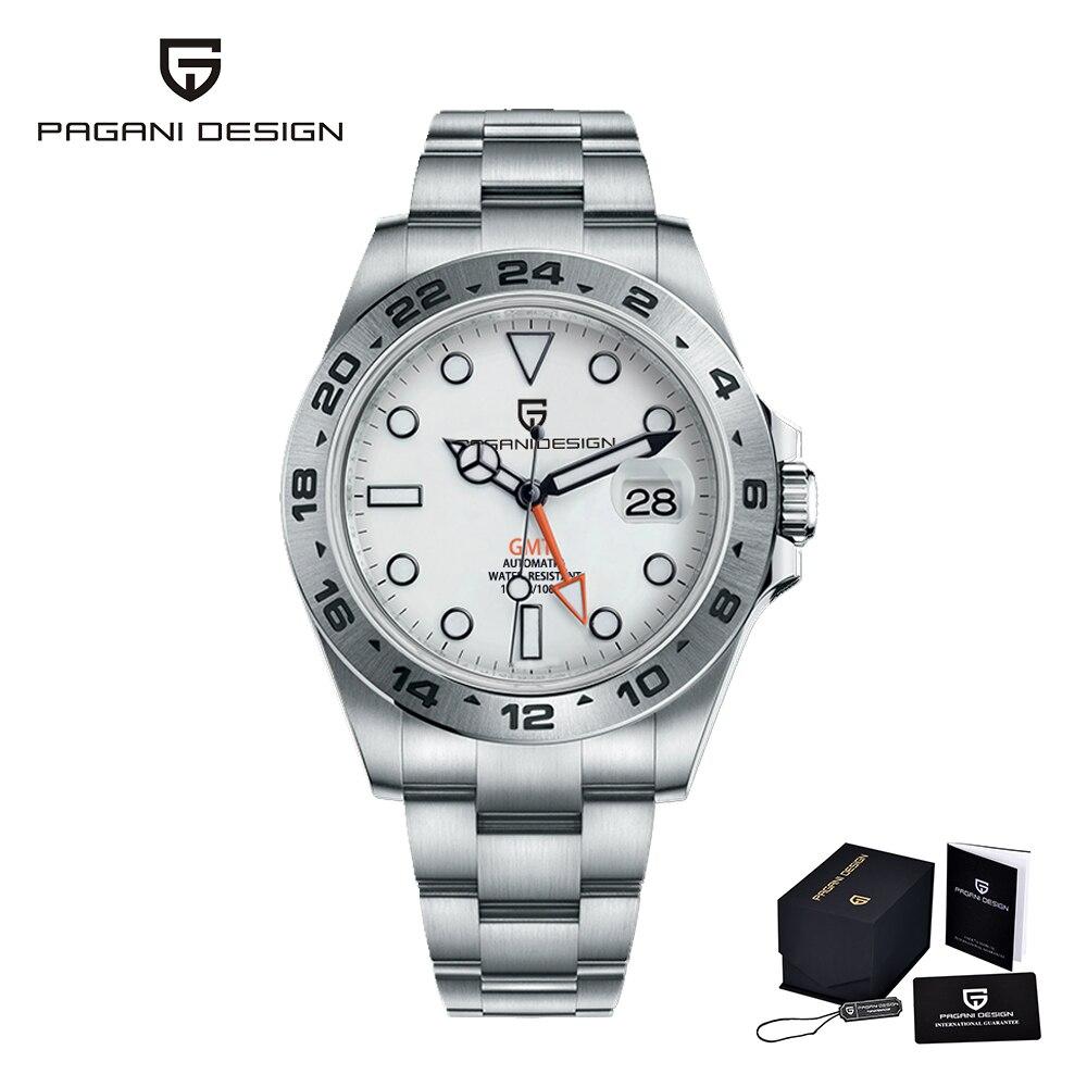 Pagani تصميم GMT العلامة التجارية مشاهدة الرجال الفولاذ المقاوم للصدأ مقاوم للماء الياقوت الزجاج التلقائي ساعة ميكانيكية فاخرة Relogio Masculino