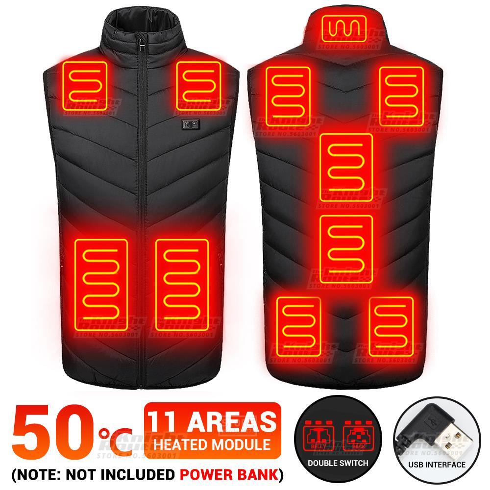 AliExpress - 11 Areas Self Heated Vest Body Men's Warmer Heating Jacket Heated USB Battery Powered Women's Warm Vest Thermal Winter Clothing