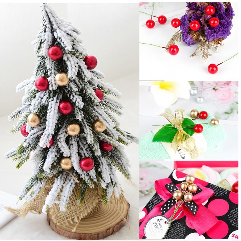 40 100 Uds Decorativo Mini Navidad Helado Baya Artificial Vívido Acebo Rojo Bayas Acebo Hogar Guirnalda Nueva Hermosa