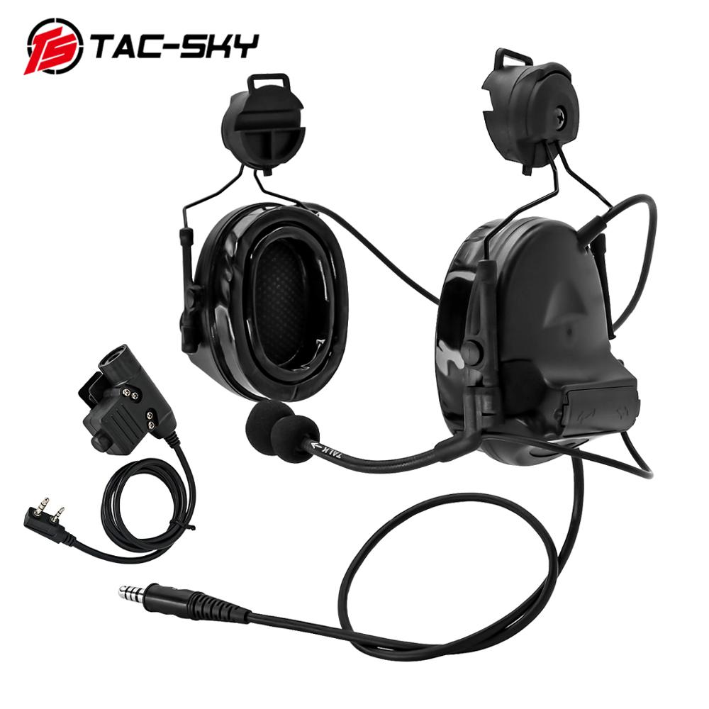 TAC-SKY helmet ARC track stand headset COMTAC II military tactical noise reduction shooting headset and tactics ptt u94 ptt BK
