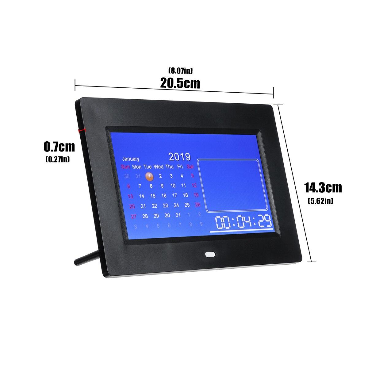 7inch HD LED Digital Photo Frame Electronic Album Calendar Timing Alarm Clock Video MP3 Playing USB 8 Languages Setting 1024*600 enlarge