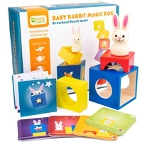 60 challenge bunny magic box wooden puzzle interactive board game toy cognitive card peekaboo toy educational children gift