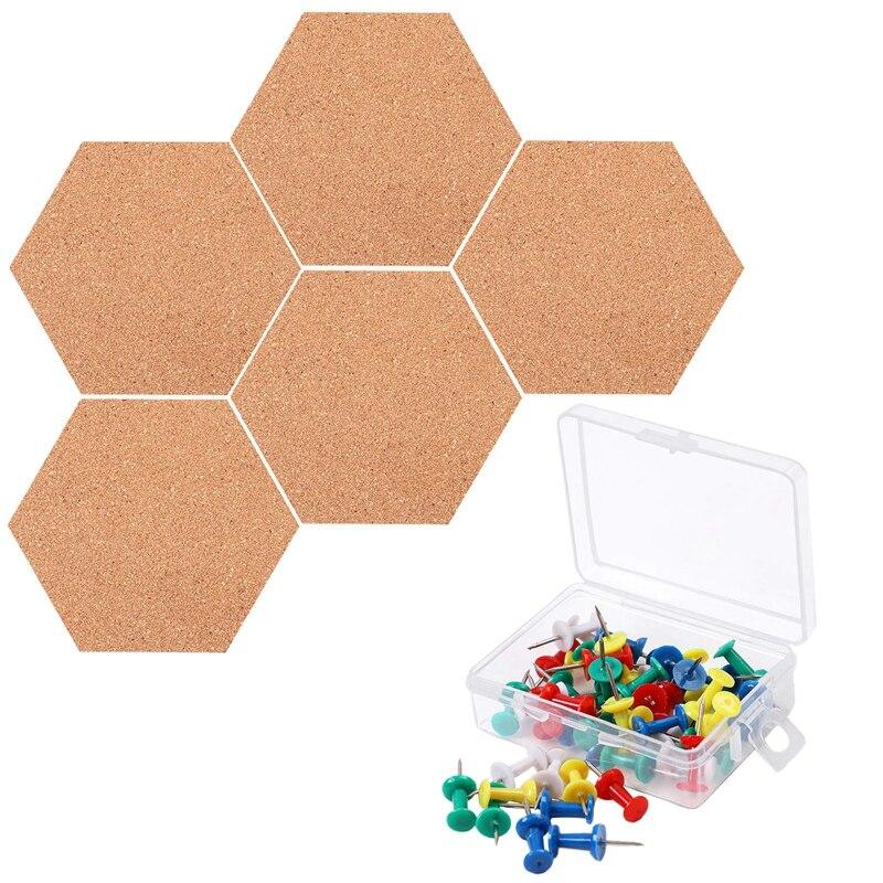 Venda quente 5 pacote placa de cortiça hexágono com 50 peças pinos auto adesivo diy aviso placa mini placas de avisos de parede para fotos pho