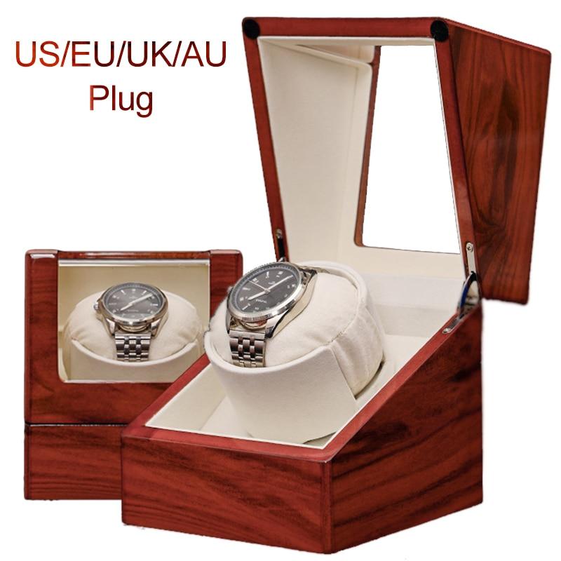 Mini agitador de reloj automático, caja enrolladora de reloj individual, soporte de reloj, caja de almacenamiento de relojes, agitador de Motor de madera lacado