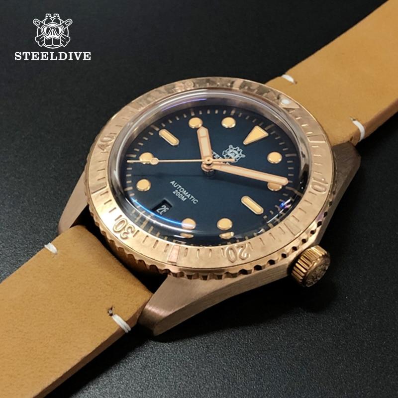 Relojes mecánicos superluminoso STEELDIVE automáticos de 200m, relojes impermeables de cristal de zafiro para hombre