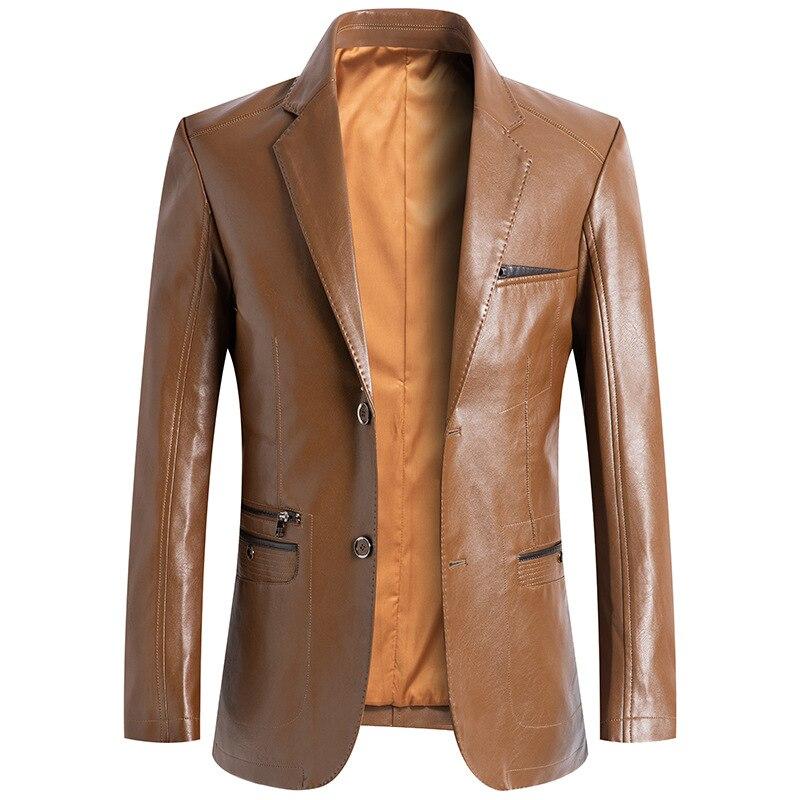 عالية الجودة الرجال ملابس رياضية جلد رجالي سترة الرجال السترة الربيع الخريف الكلاسيكية الأعمال سترة جلدية عادية معطف الذكور السترة أبلى